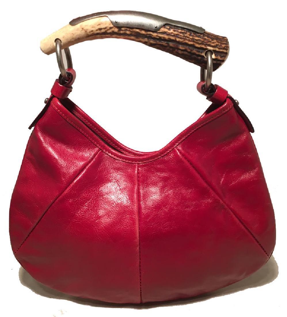 Yves Saint Laurent Red Leather Bone Handle Handbag