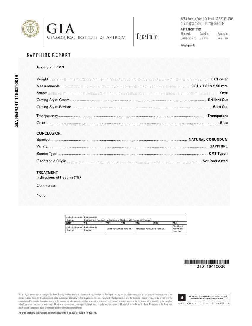 3.01ct Oval Shape GIA Certified Blue Sapphire