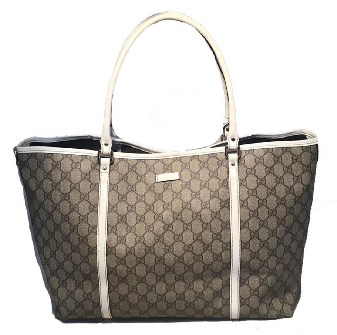 Gucci Monogram White Patent Leather Joy Tote GM