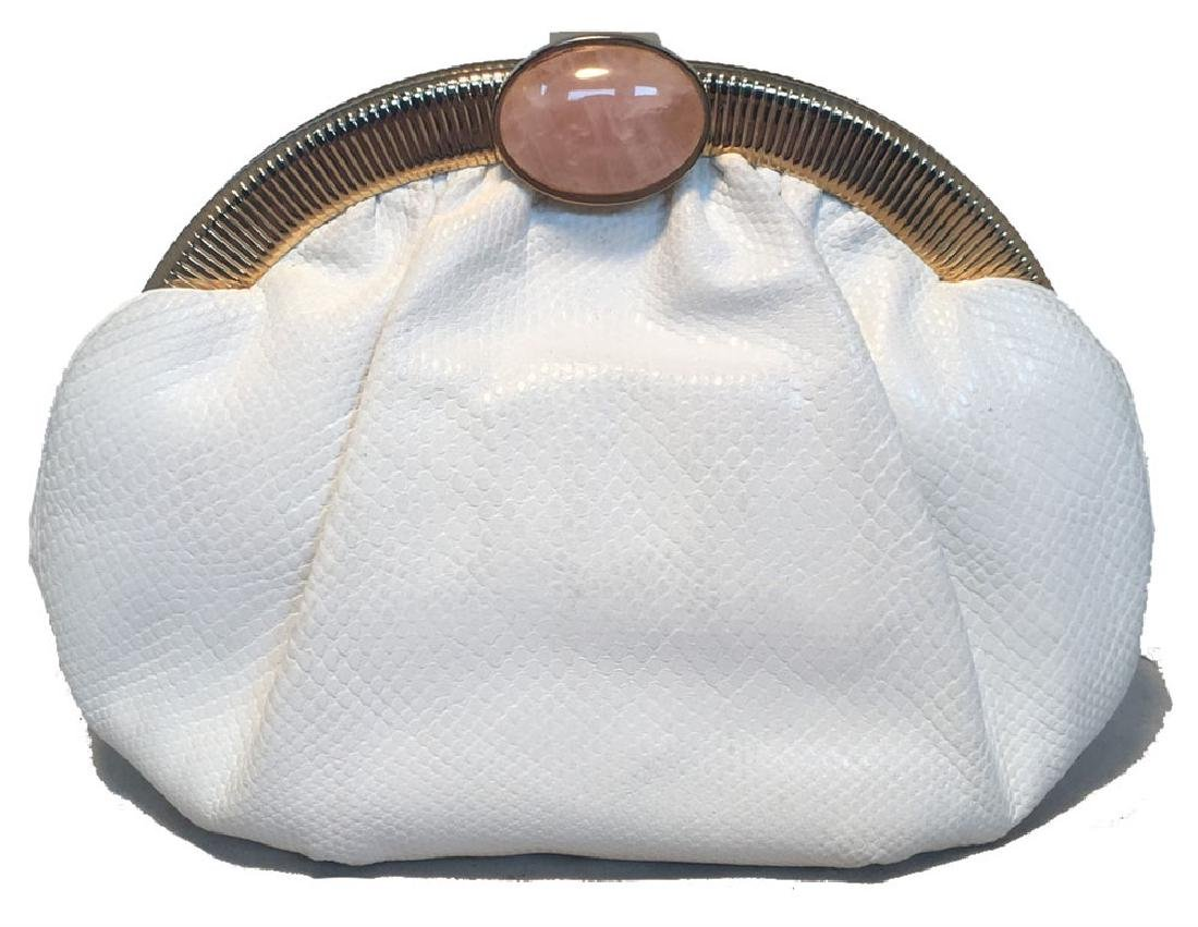 Judith Leiber Vintage White Lizard Leather Clutch