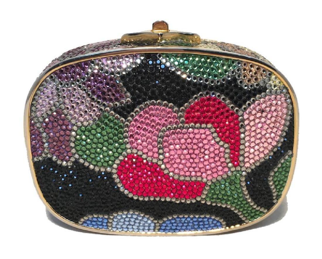 Judith Leiber Swarovski Crystal Black Floral Box