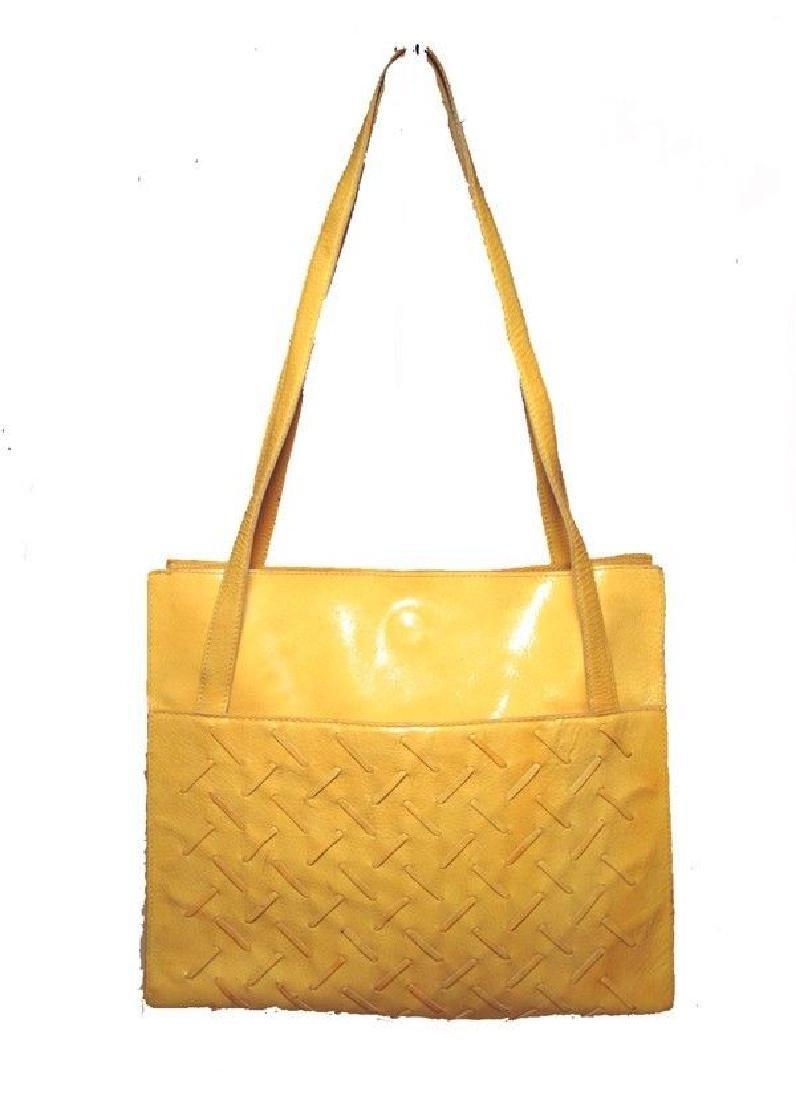 Bottega Veneta Vintage Yellow Patent Leather Shoulder
