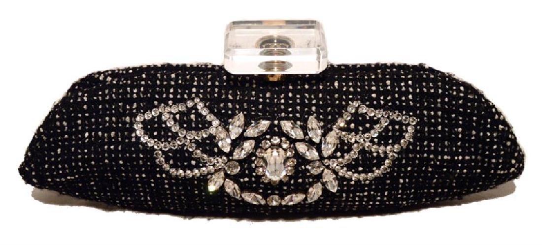 Chanel Black and White Tweed Rhinestone Perfume Bottle