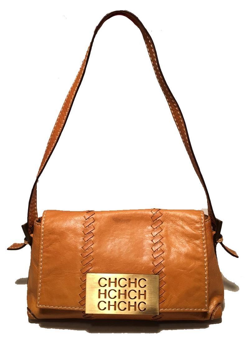 Carolina Herrera Tan Leather Mini Handbag Baguette