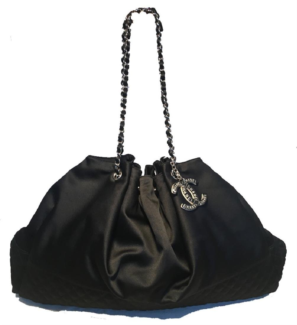 Chanel Black Silk Drawstring Shoulder Bag