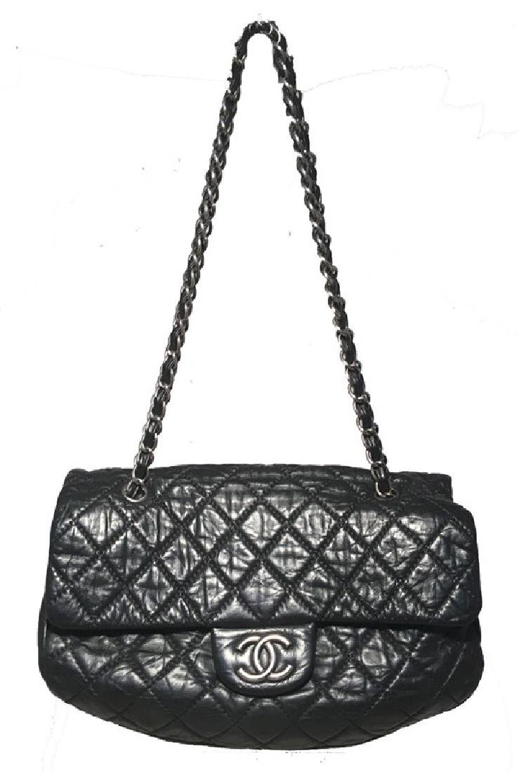 Chanel Black Quilted Distressed Leather Classic Flap