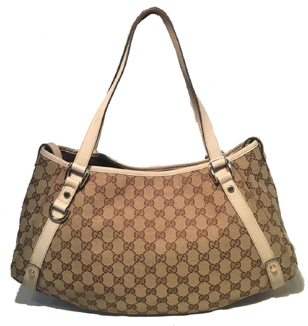 Gucci Beige Leather and Monogram Abby Tote Shoulder Bag