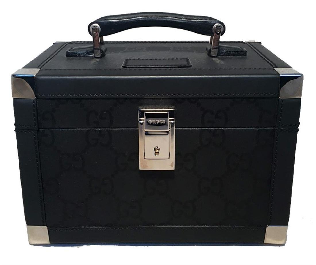 Gucci Black Monogram Canvas and Leather Train Case