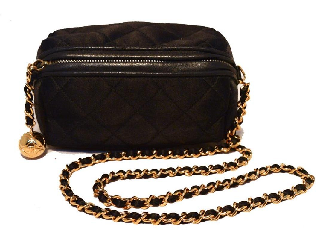 Chanel Vintage Black Quilted Satin Shoulder Bag