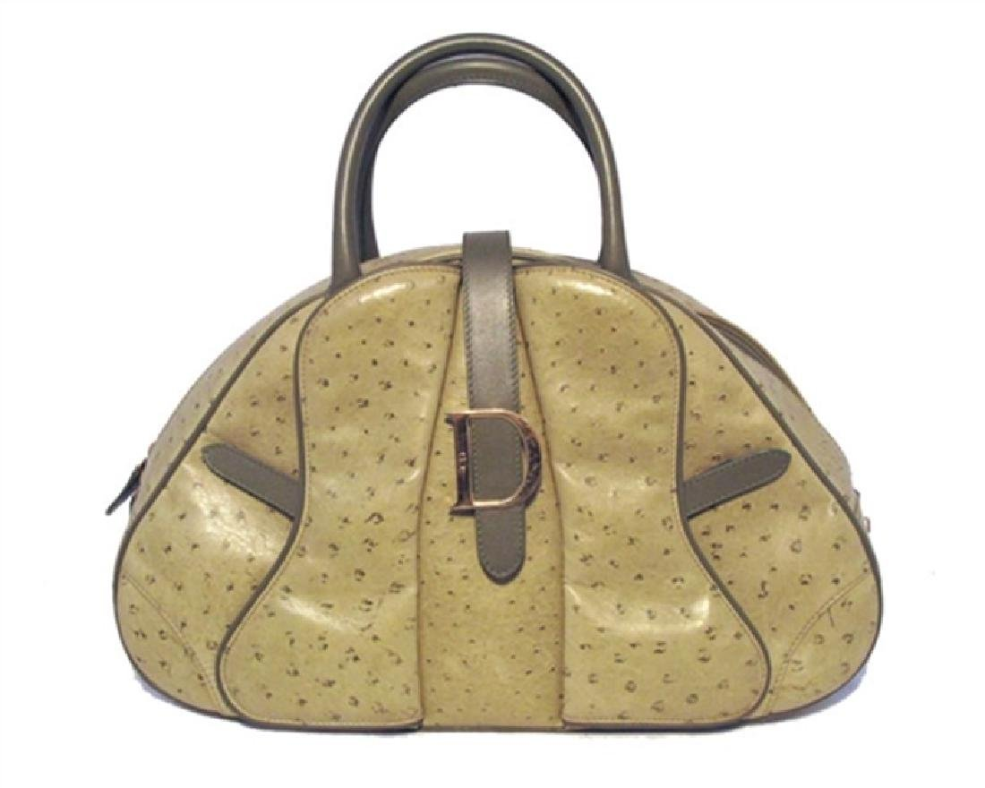 Christian Dior Green Ostrich Leather Handbag