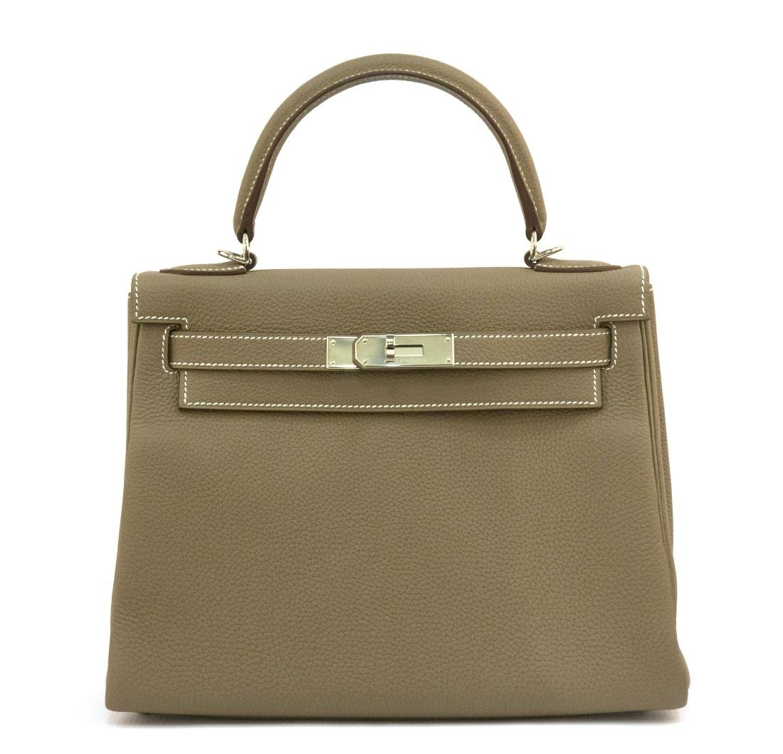 Hermes Kelly bag 28 Retourne Etoupe grey Clemence