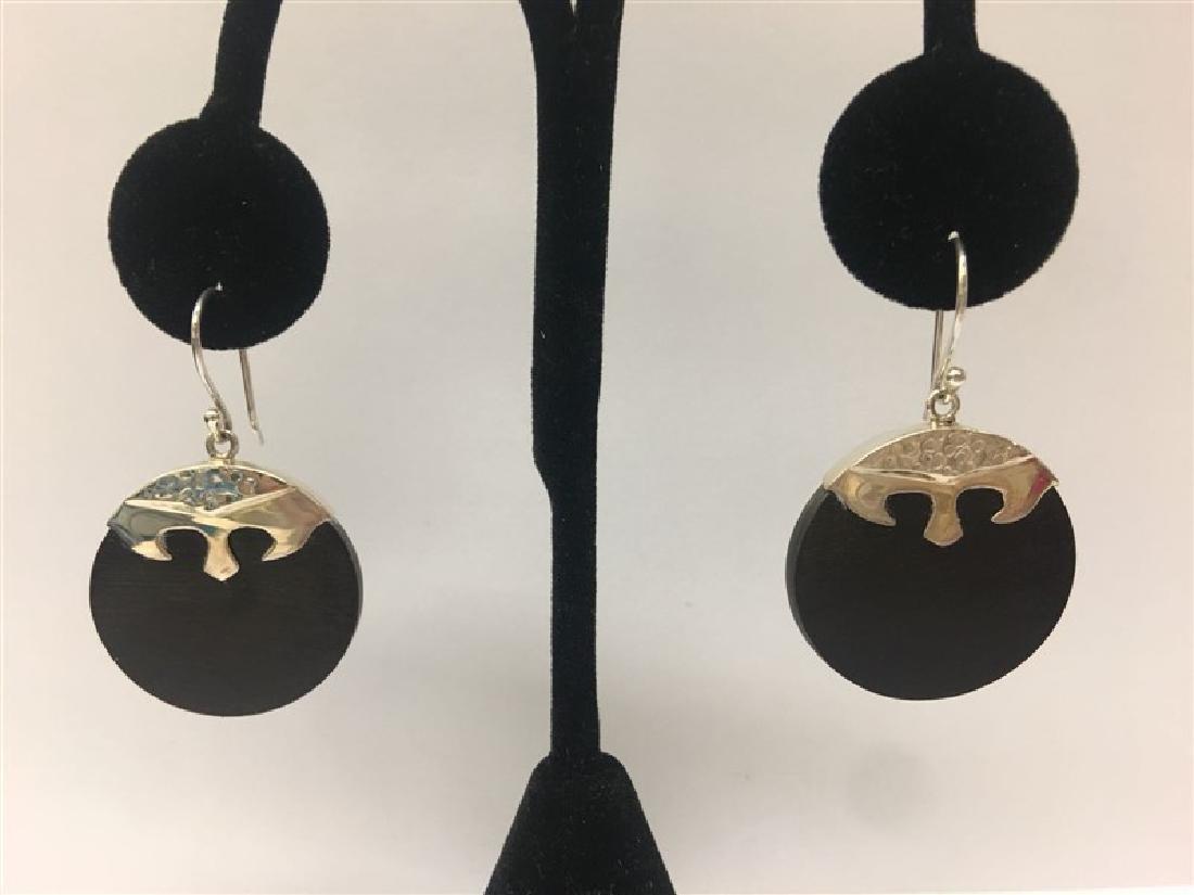 Sterling Silver W/ Wood Earring