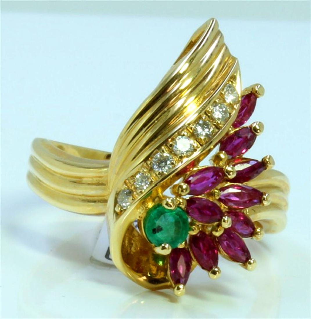 RUBY AND  EMERALD 2CT 14K YELLOW GOLD RING