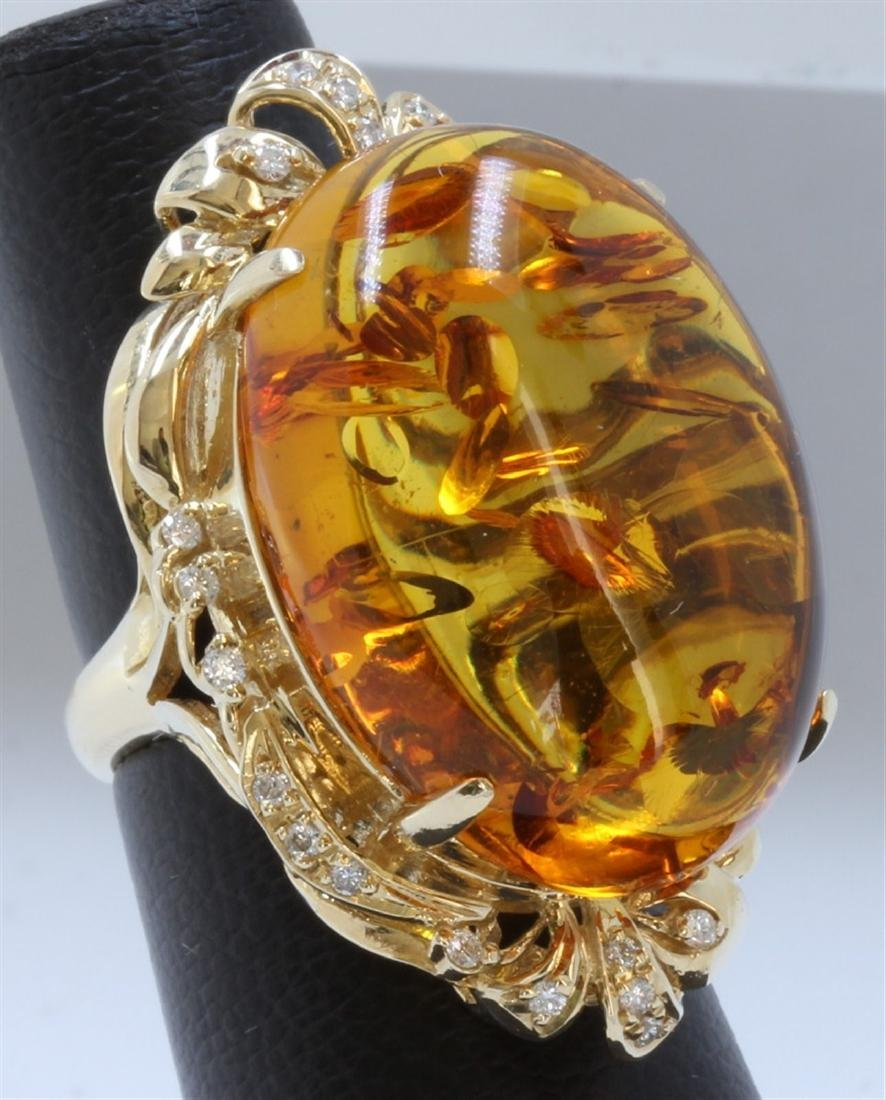 Amber:25.2ct/14K Ring:13.4g/Diamond:0.35ct
