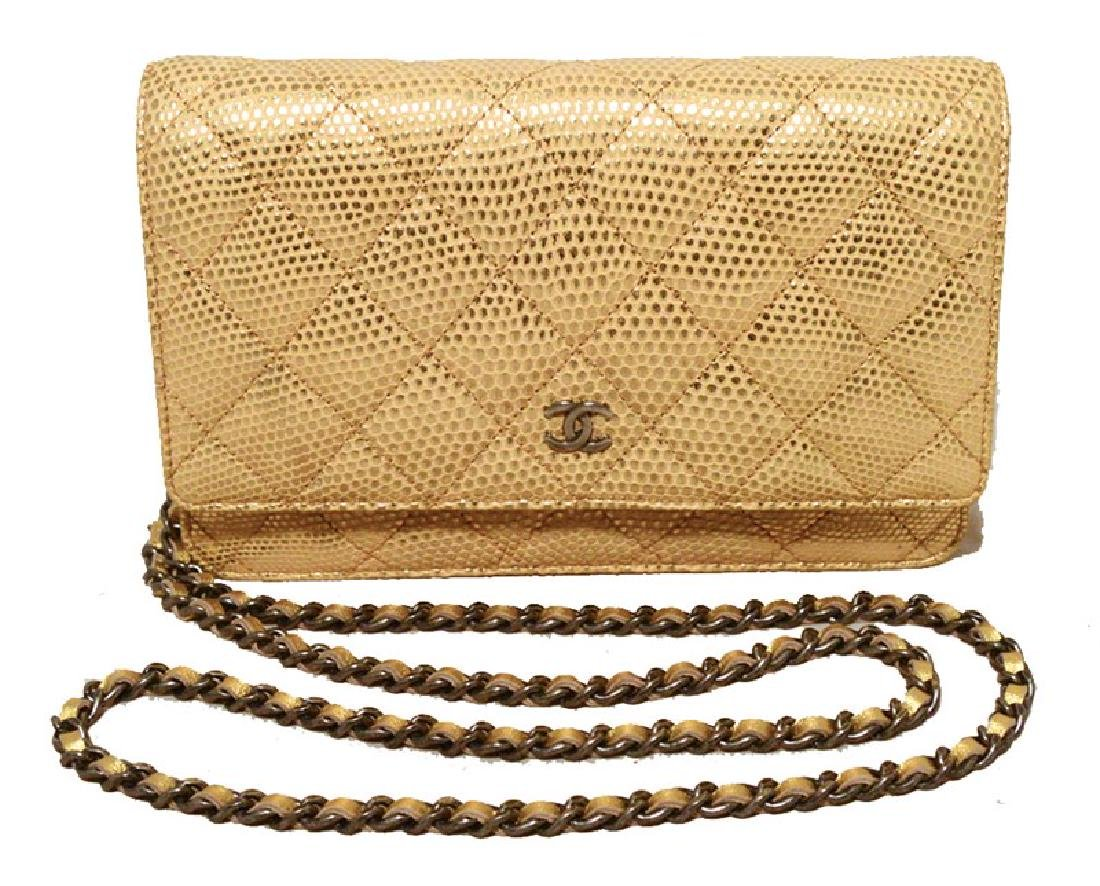 Fabulous Chanel Gold Lizard Classic Wallet on a Chain