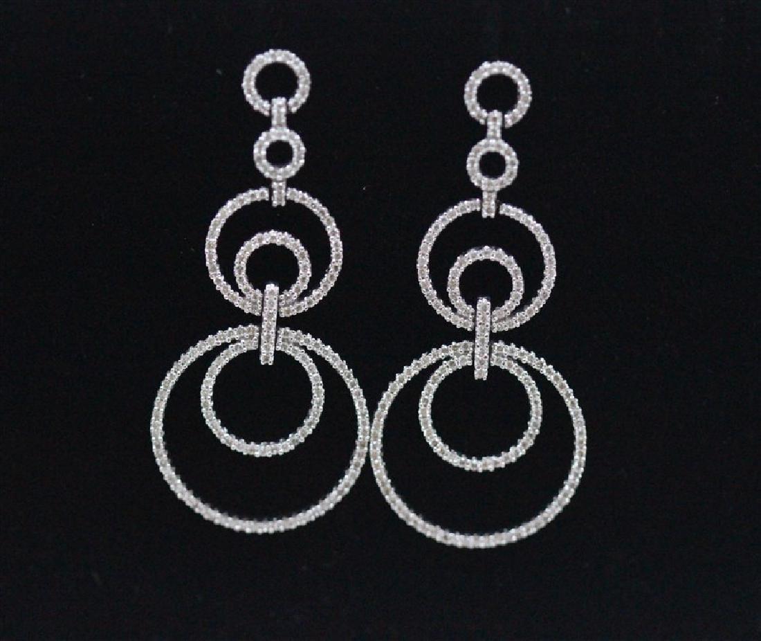 18K White Gold Diamond Earring; Gold-14.01 Grams;