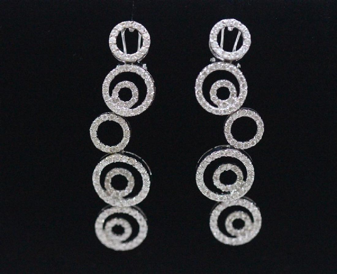 18K White Gold Diamond Earring; Gold-12.95 grams ;