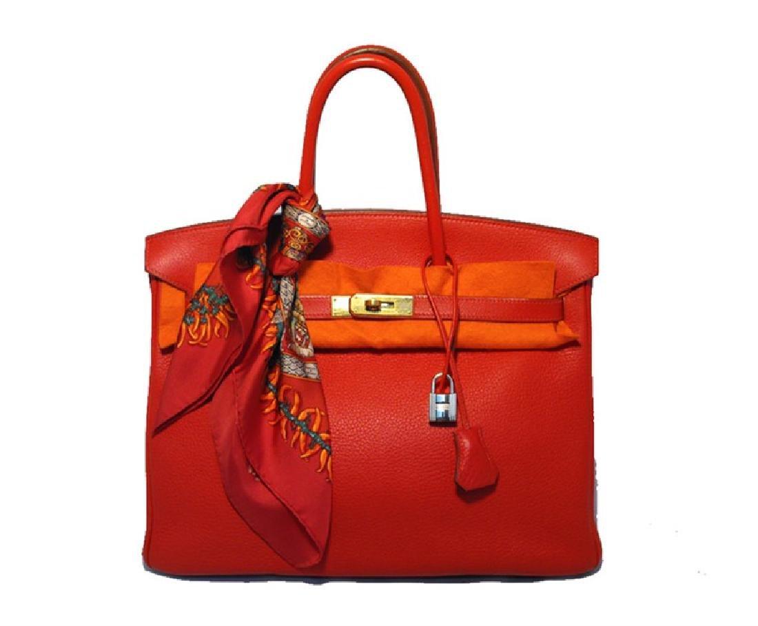 Hermes Rouge Vif 35cm Clemence Birkin Bag