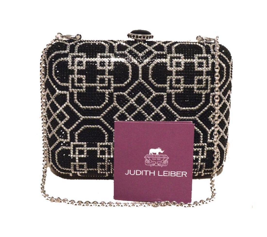 Judith Leiber Nwt Black & Silver Crystal Art Deco