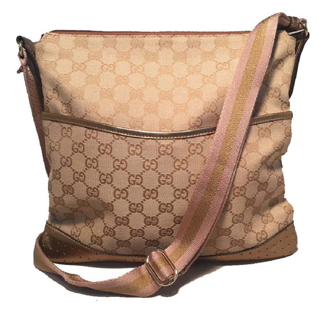 Gucci Medium Monogram Canvas and Leather Bronze & Pink