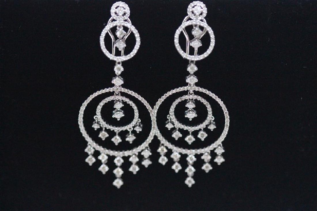 18K White Gold Diamond Earring; Gold-13.49 Grams ;