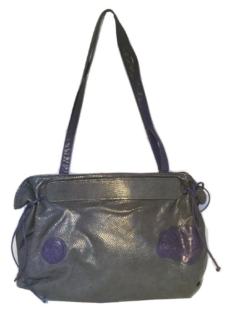 Carlos Falchi Vintage Blue Snakeskin Shoulder Bag