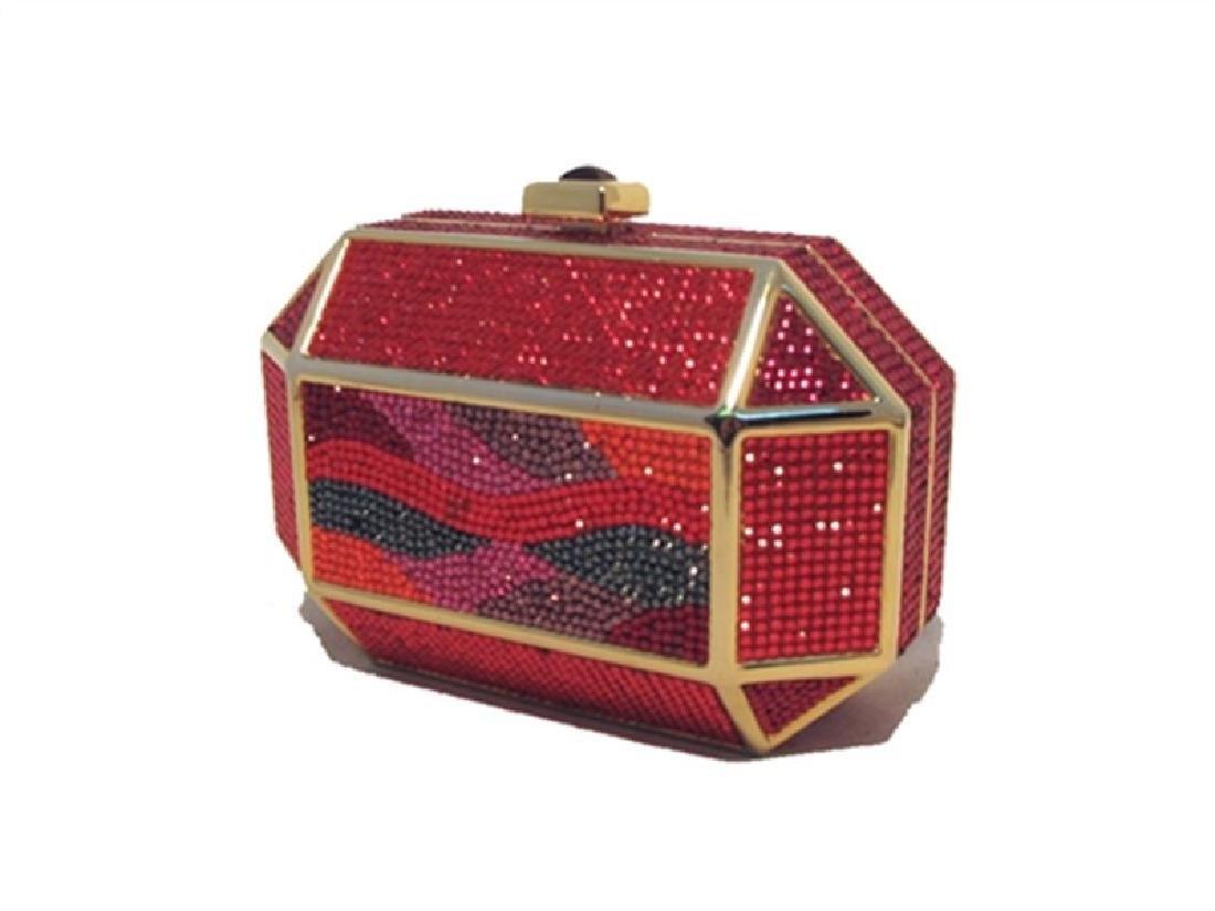 Judith Leiber Vintage Red Swarovski Crystal Minaudiere