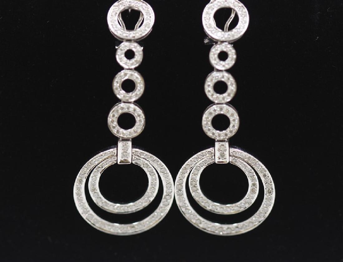 18K White Gold Diamond Earring; Gold-18.01Grams  ;