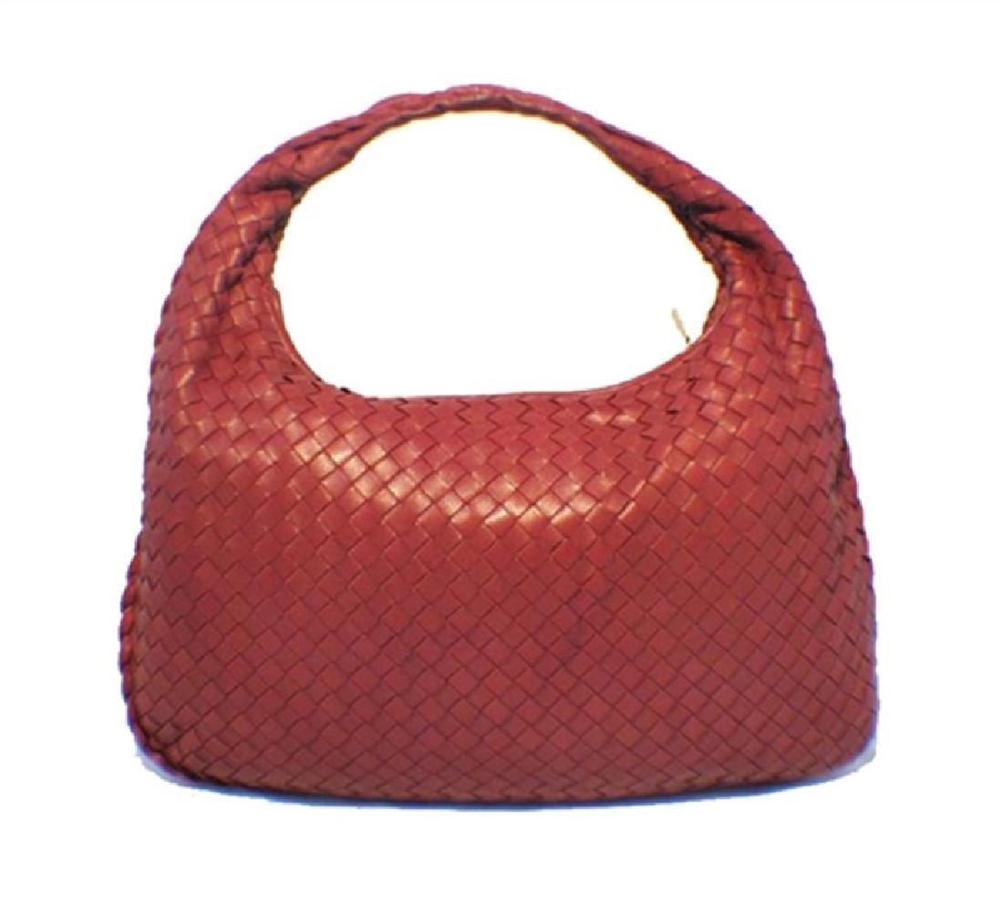 Bottega Veneta Classic Red Woven Lambskin Leather