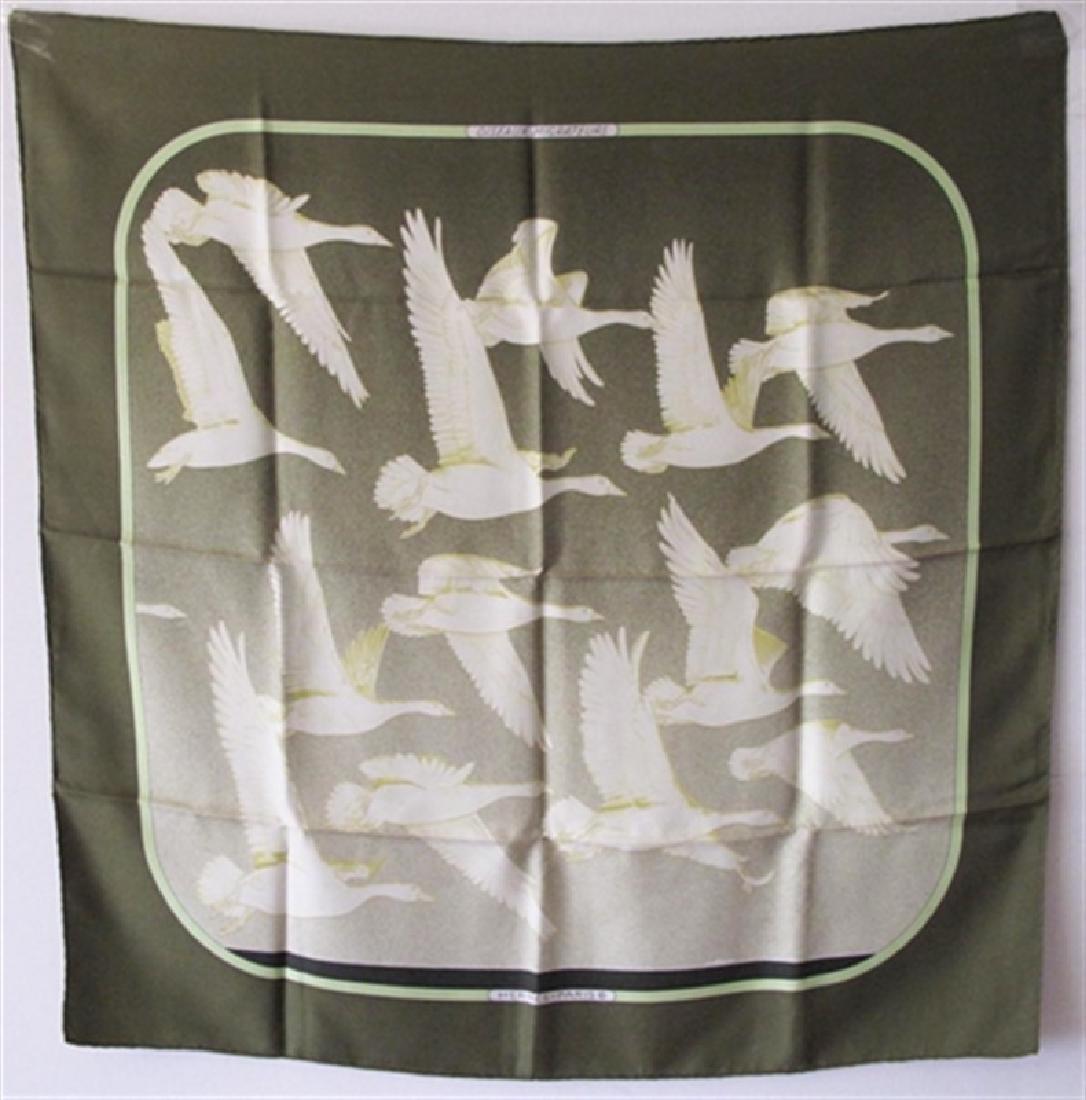 Authentic Hermes Vintage-Oiseaux Migrateur Silk Scarf-