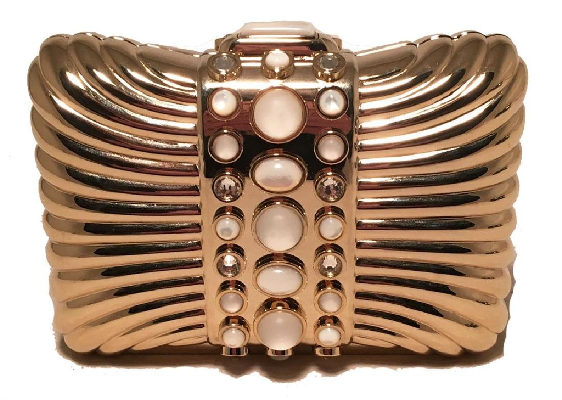 Judith Leiber Vintage Gold Box Clutch with Pearl