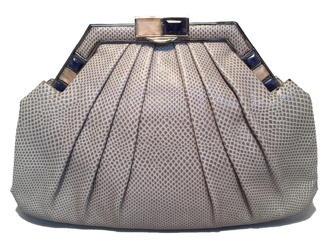 Judith Leiber Grey Lizard Stone Top Clutch
