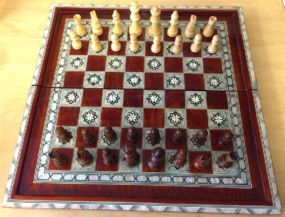 Chess set mother of pearl