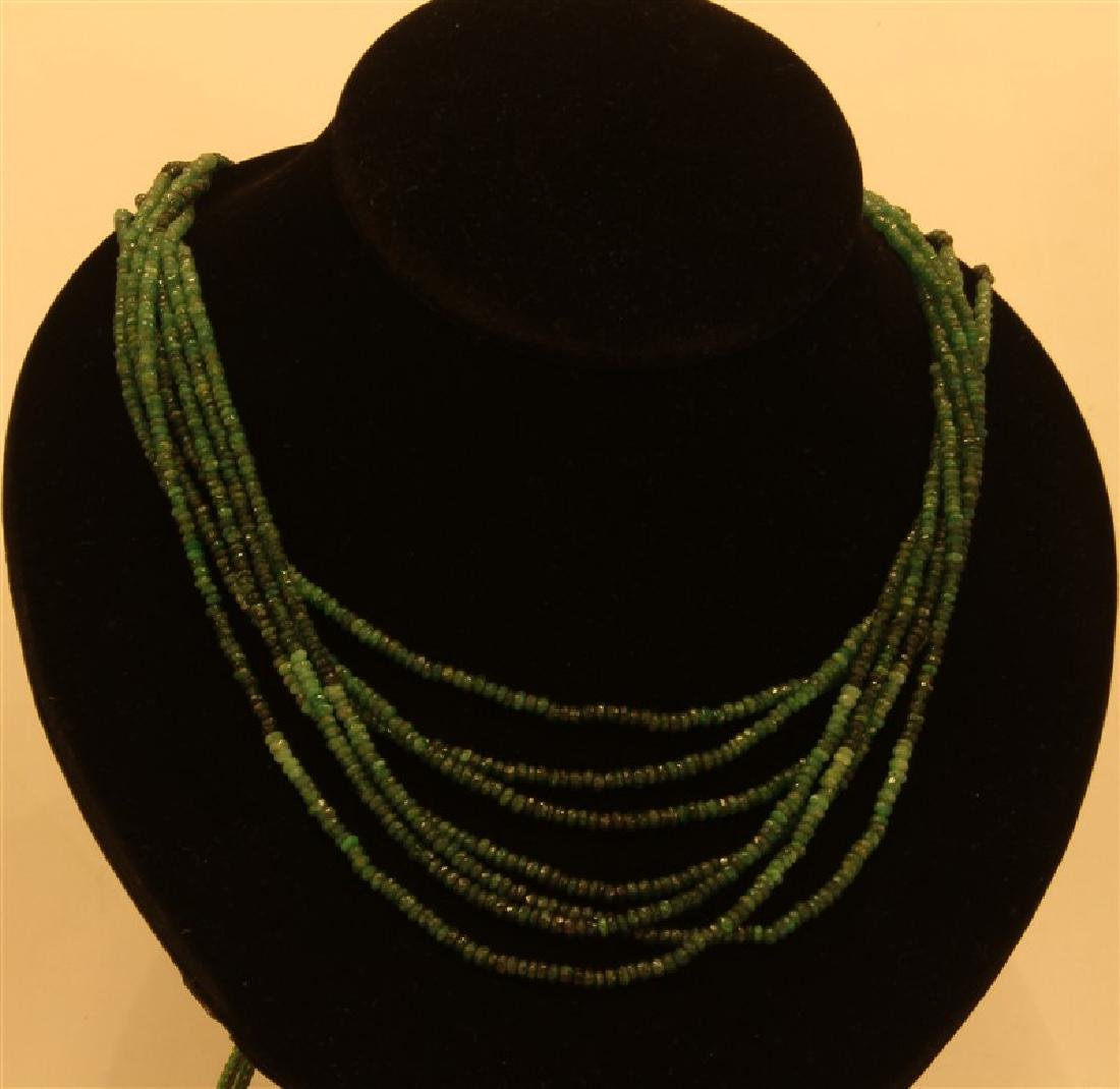 220.75ct Multi Faceted Emerald Beads Necklace Lines-7