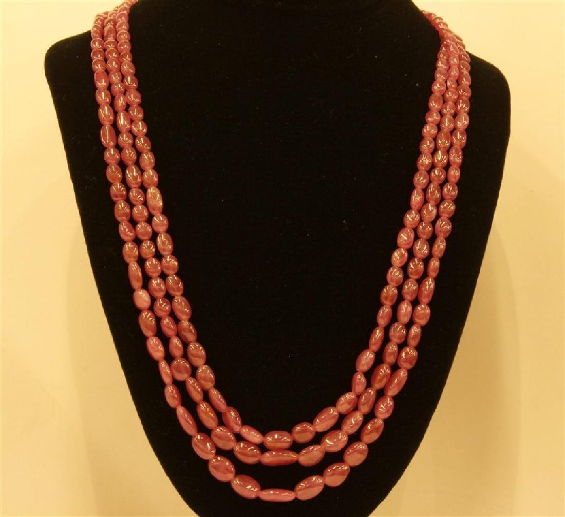 534ct Ruby Oval Beads NecklaceLines-3