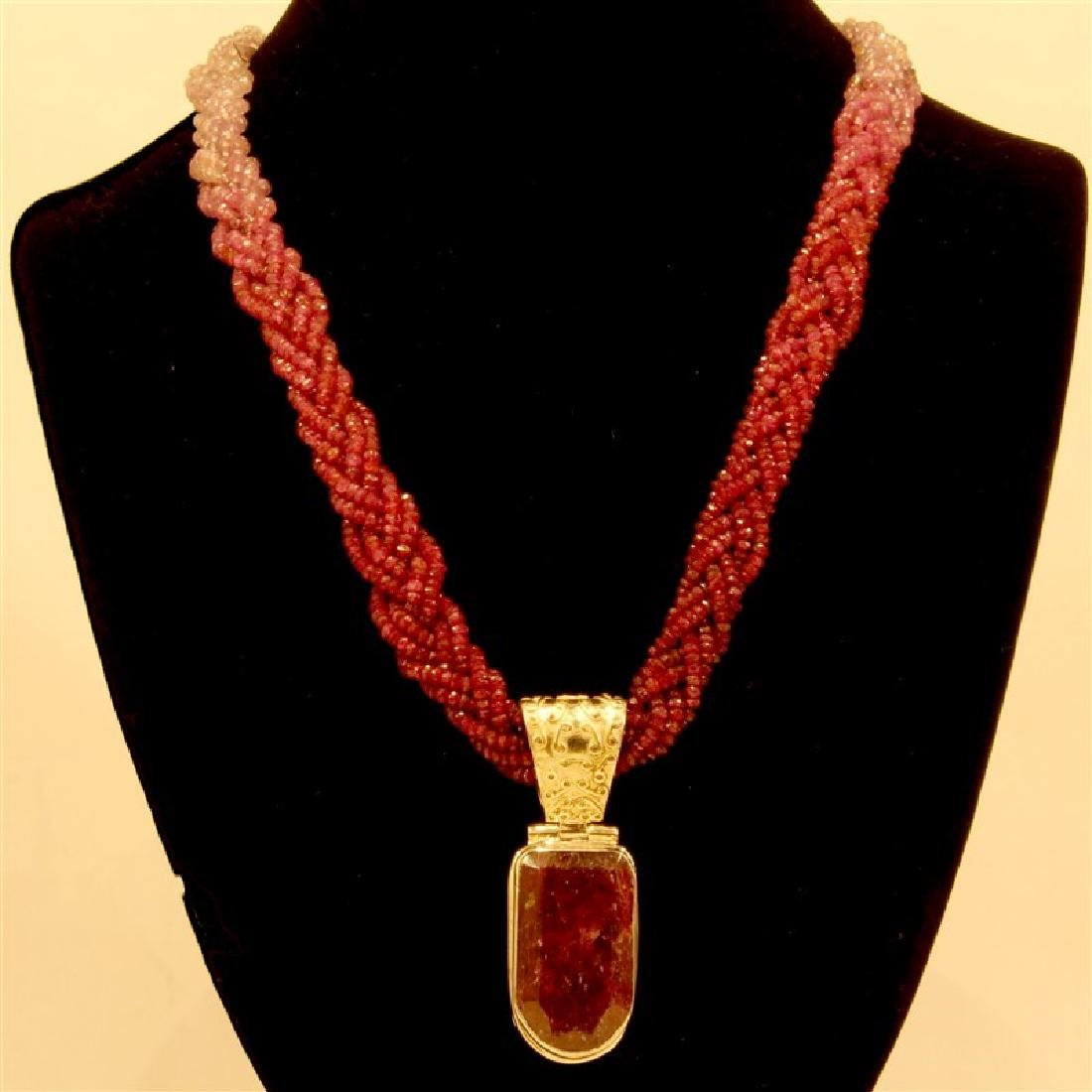 Faceted Ruby And Sapphire Beads Necklace And Pendant