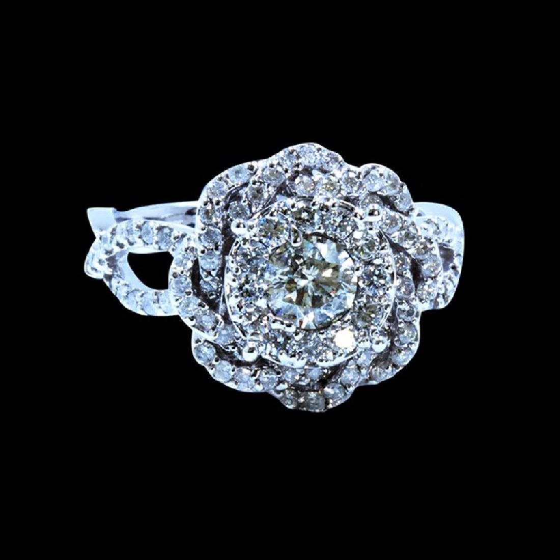 0.91CT NATURAL DIAMOND 14K WHITE GOLD RING