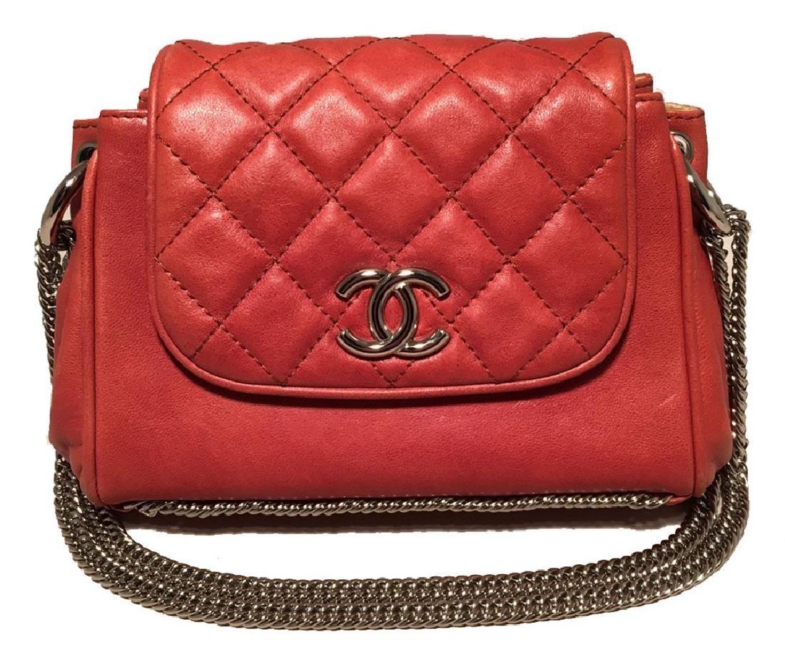 Chanel Orange Leather Chain Trim Classic Flap Shoulder
