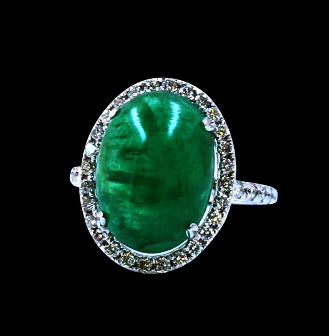 7.07CT NATURAL COLOMBIAN EMERALD 14K W/G RING
