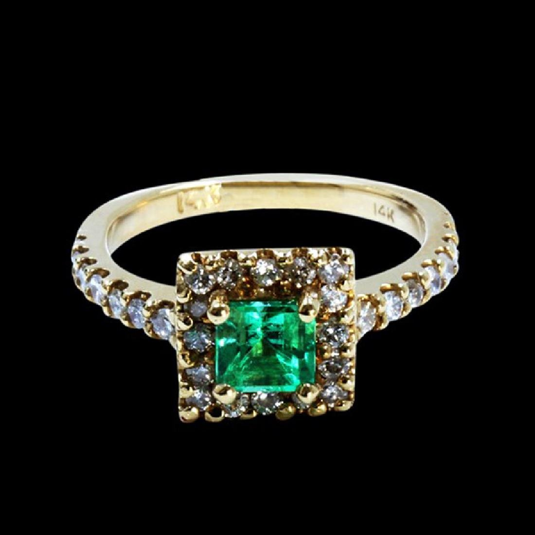 0.54CT NATURAL COLOMBIAN EMERALD 14K YELLOW GOLD RING