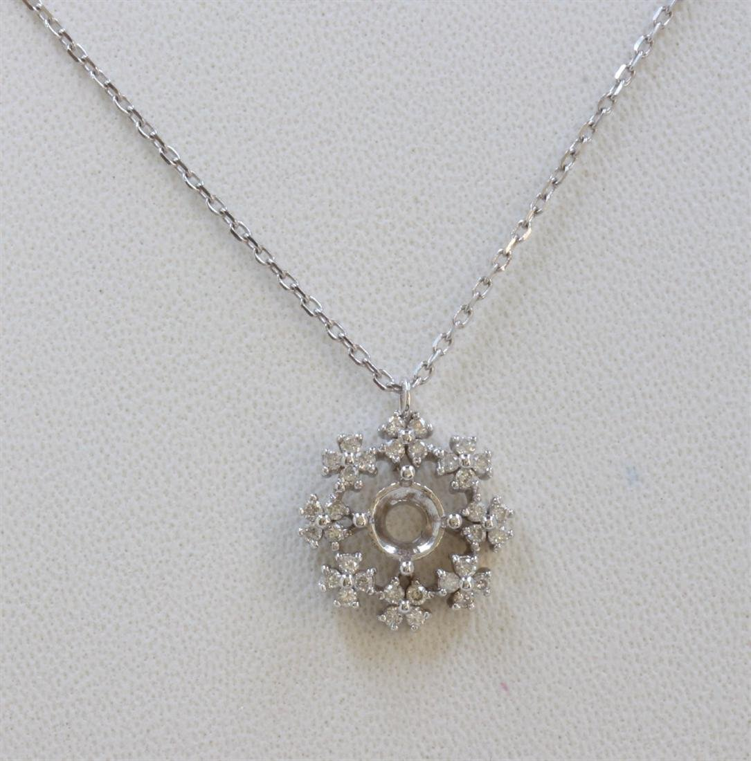 14K WHITE GOLD MOUNTING PENDANT CHAIN