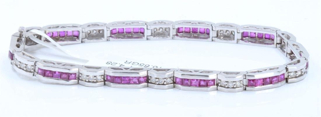 14K White Gold Ruby Bracelet :16.65