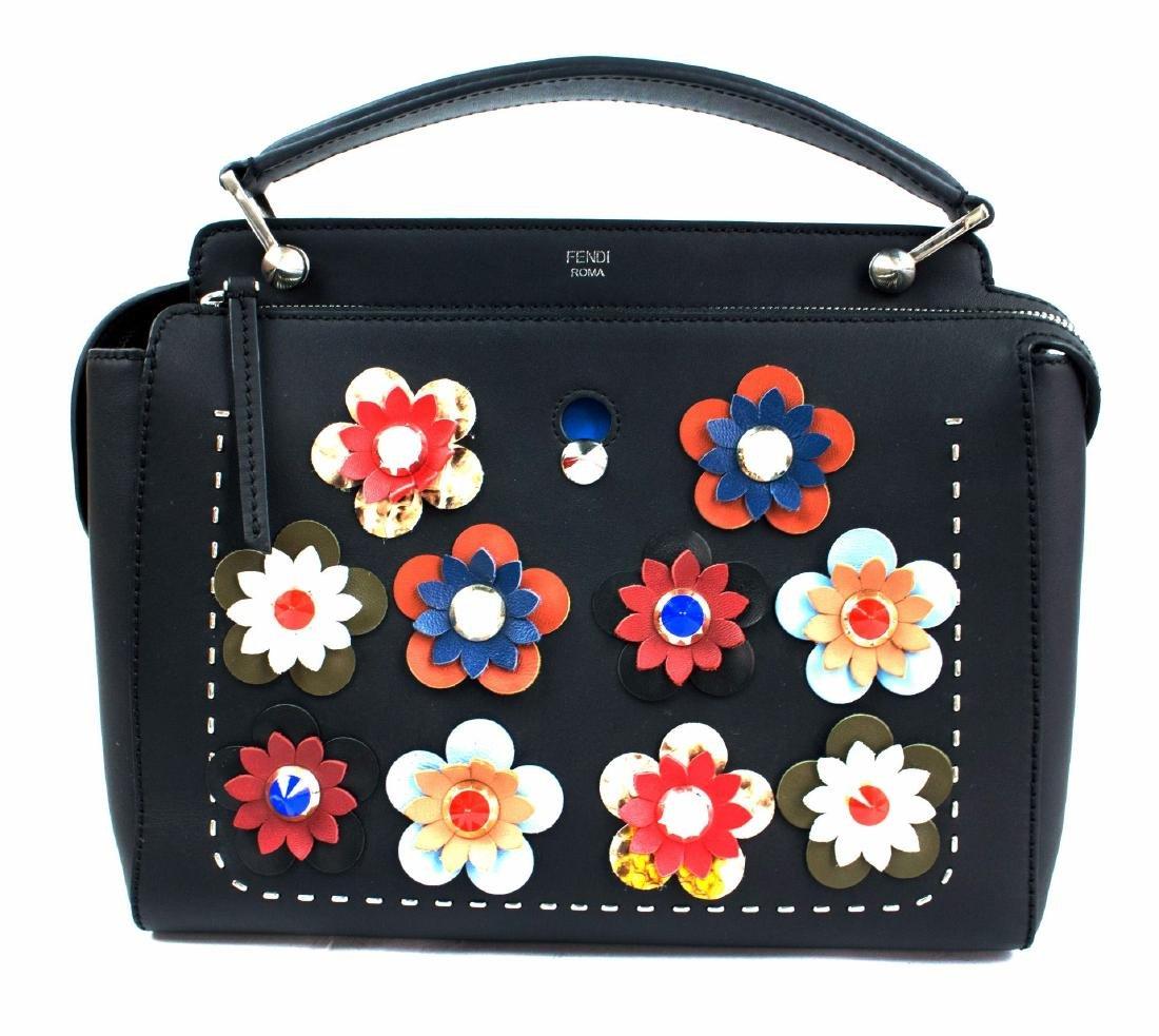 FENDI DOTCOM Medium Floral Leather Satchel Bag, Black