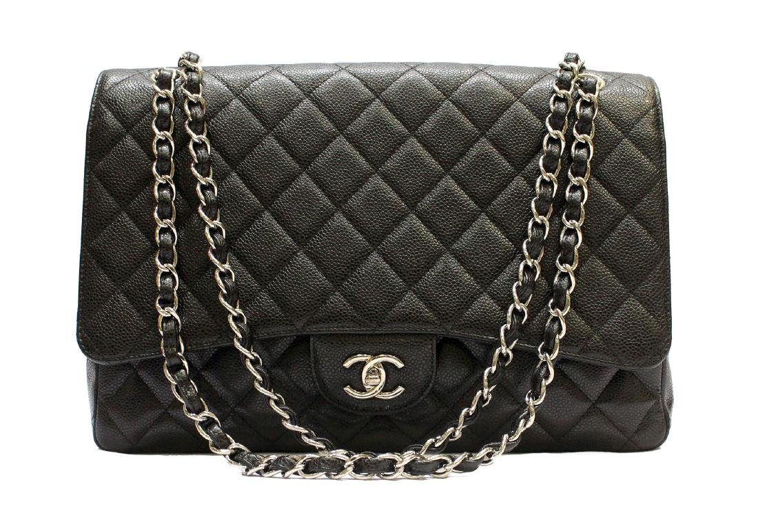 CHANEL Caviar Quilted Maxi Single Flap Black
