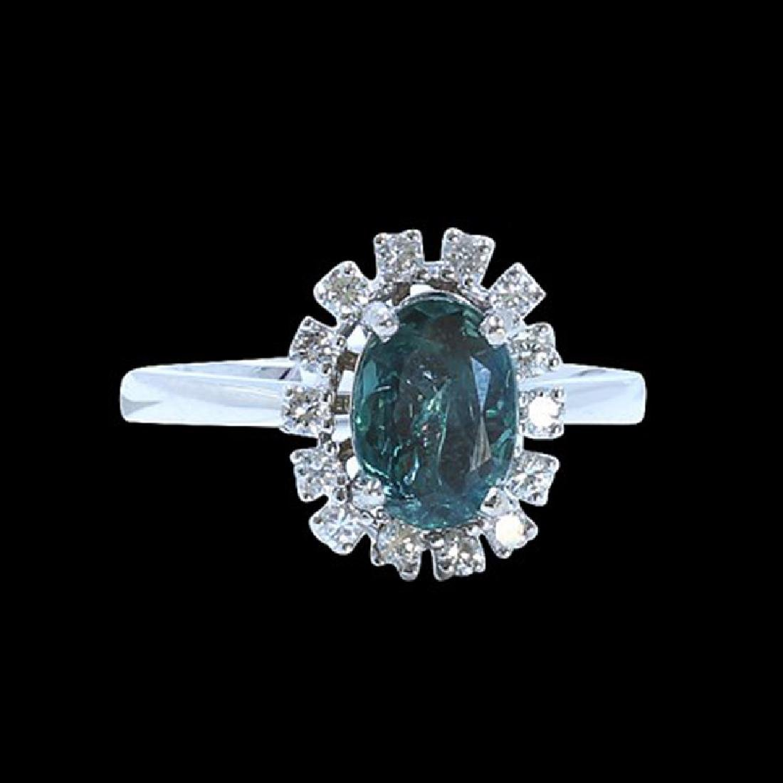 1.43CT NATURAL ALEXANDRITE 14K WHITE GOLD RING