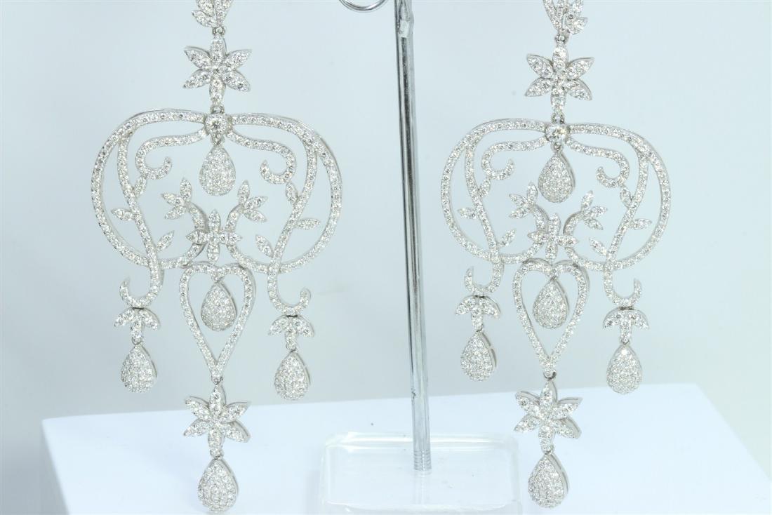 Hand Made  Chandelier Earring 14K WHITE GOLD EARRING