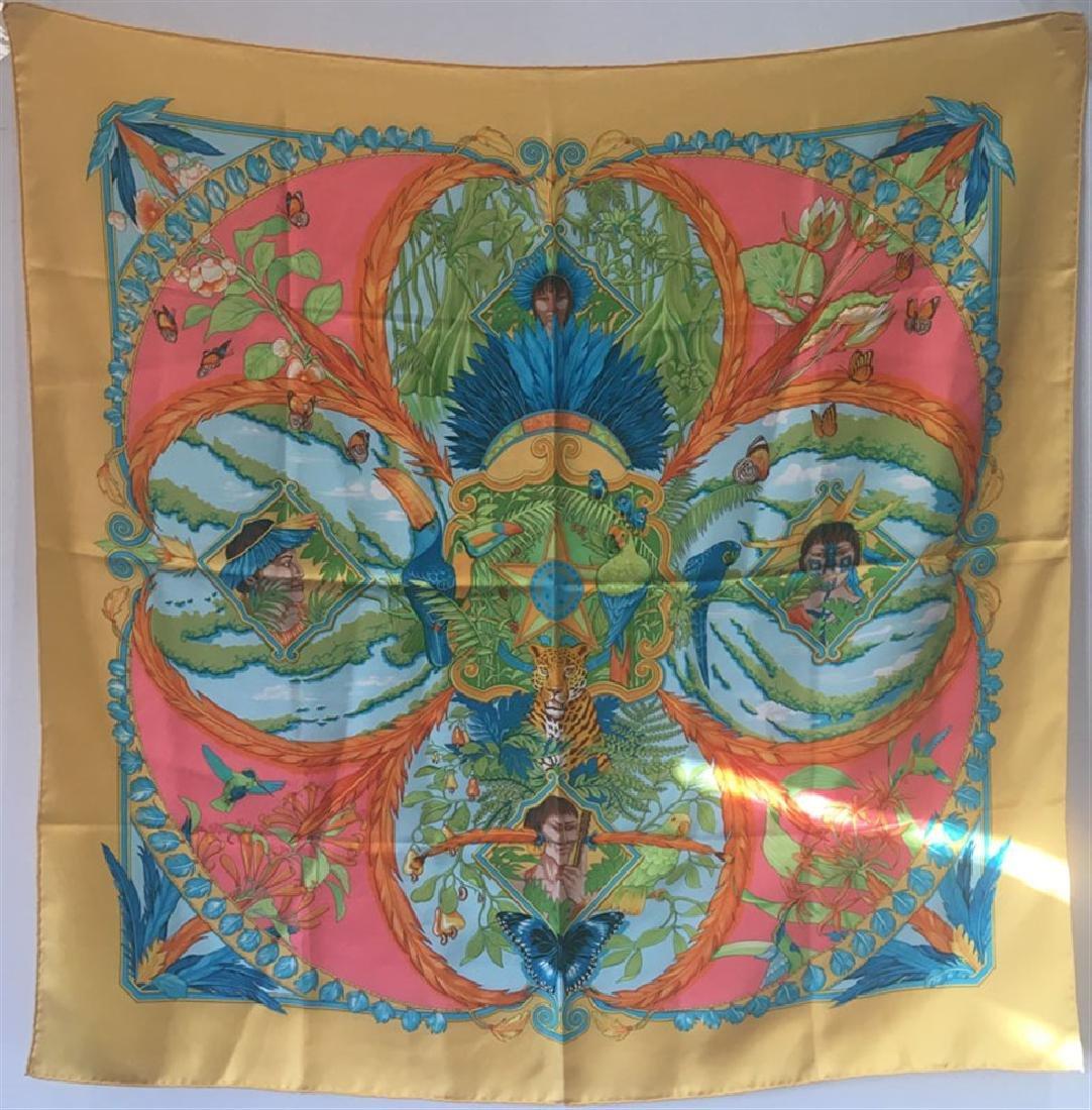 Hermes Amazonia Silk Scarf in Marigold