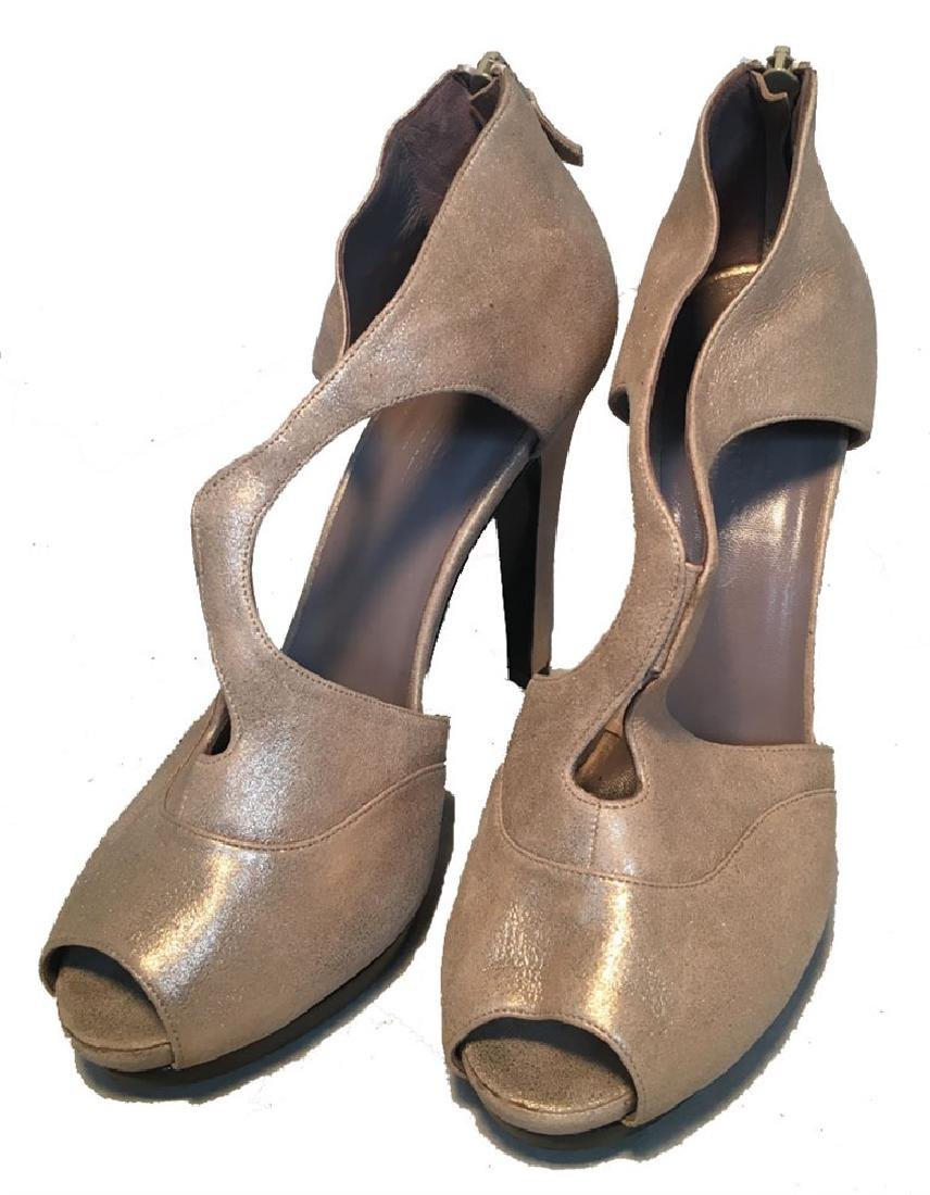 Hermes Shimmery Golden Leather Strappy High Heels size