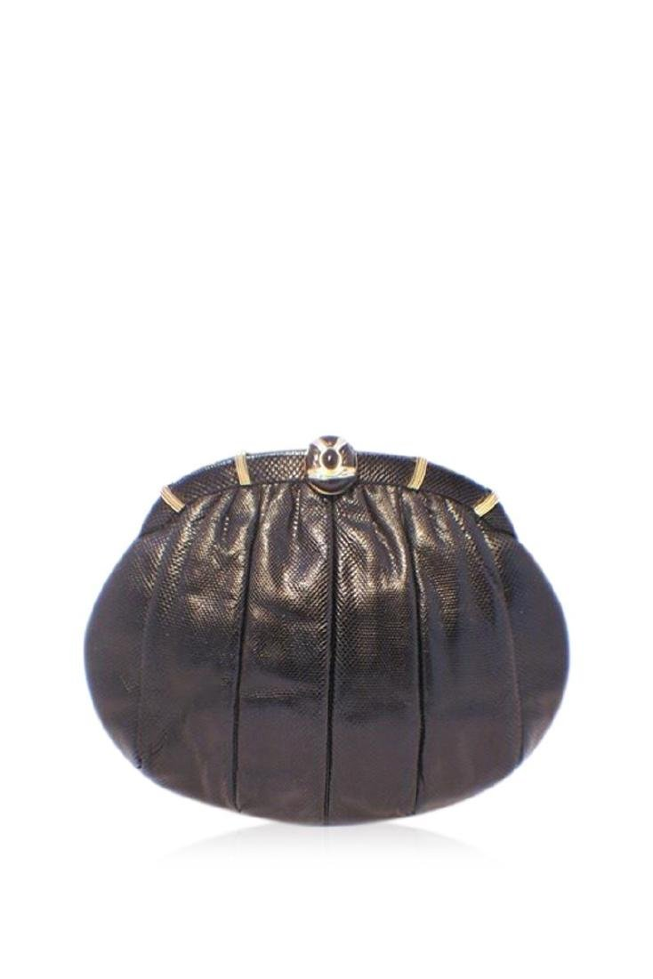 Judith Leiber Black Lizard Leather Oval Clutch