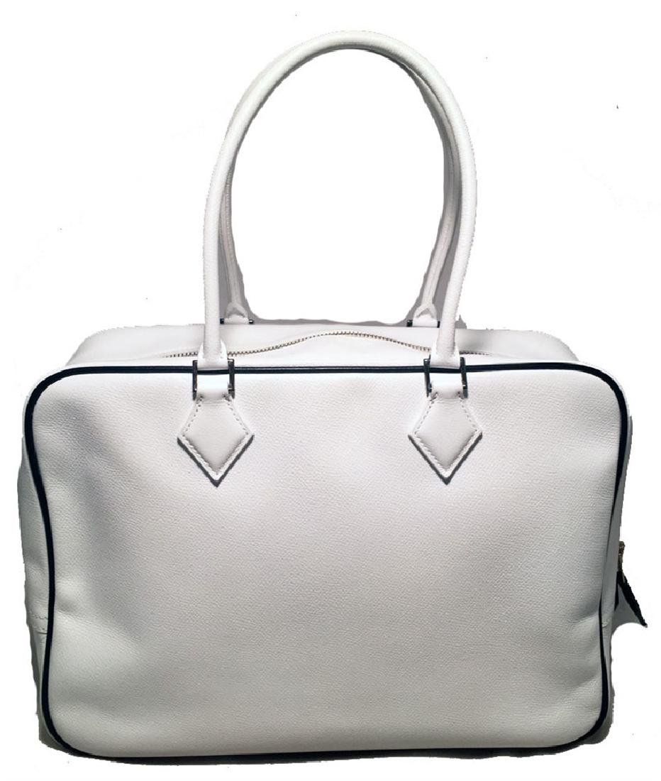 Hermes Black and White Veau Grain Leather Plume 32cm